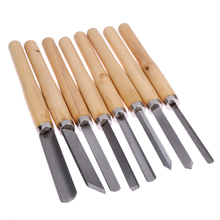 8pcs Wood Handles Lathe Chisel Set Turning Tools Carpenters Wood Carving Chisels Kit Woodworking Gouge Skew Parting Hand Tools