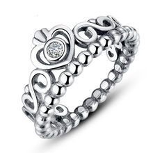 925 Engrave My Princess Queen Crown Heart Ring Design With Crystal Rhinestone Silver Plated Wedding Ring For Women Jewelry