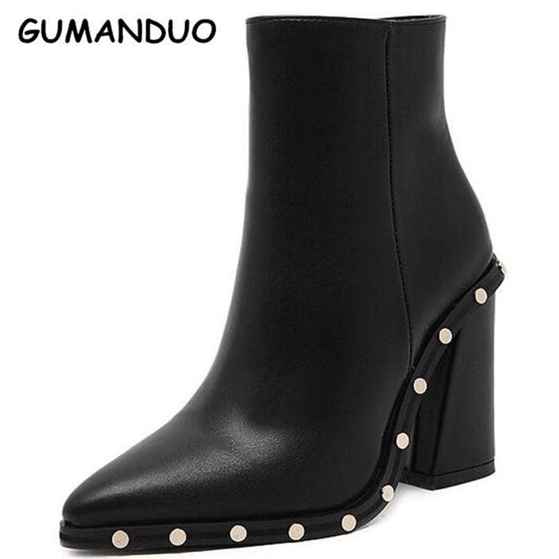 Sexy Rivet High Heels Boots Women Pointed Toe Ankle Boots PU leather Zippe Shoes Woman Autumn Winter Booties<br>
