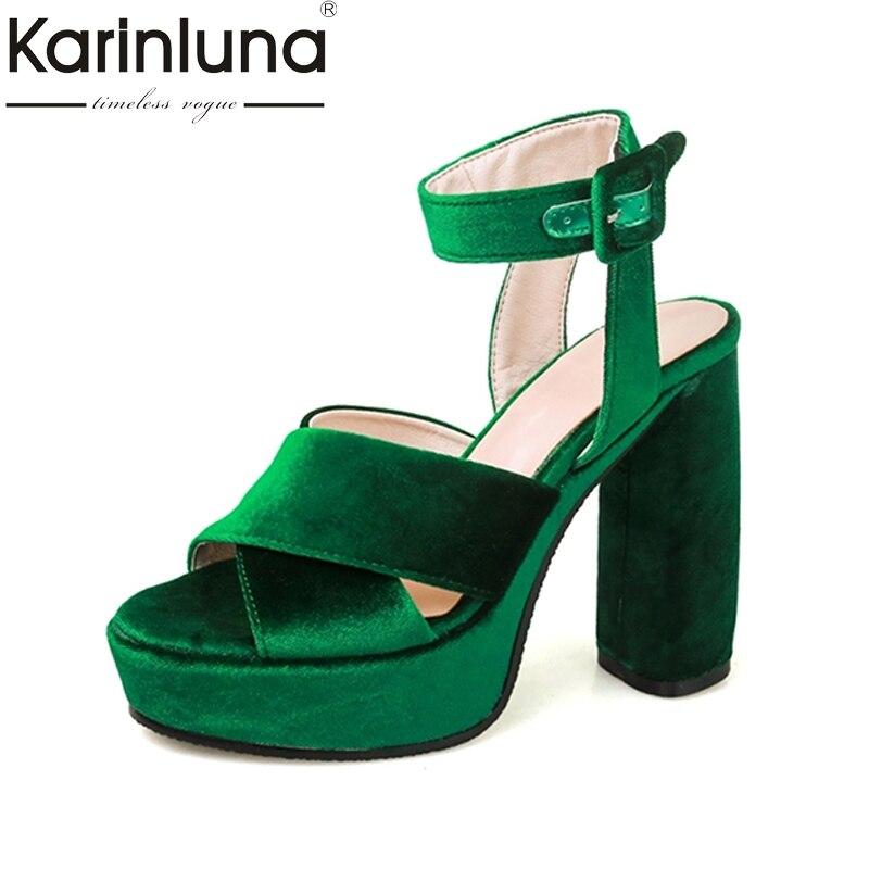 2017 Fashion Summer Sandals Green Blue Red High Heel Square High Heels Platform Popular Women Shoes Party Dating wedding<br>