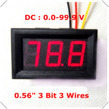 "RD LED Display Color 0.56"" Digital Voltmeter DC:0-100V Three wires 3 bit Voltage Panel Meter [ 4 pcs / lot](China)"
