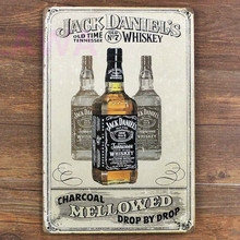 Free shipping 1pc Daniels liquor bottle Tin plate commercial vintage tin Sign Bar Pub jack WHISKEY Wall Decoration Metal Poster