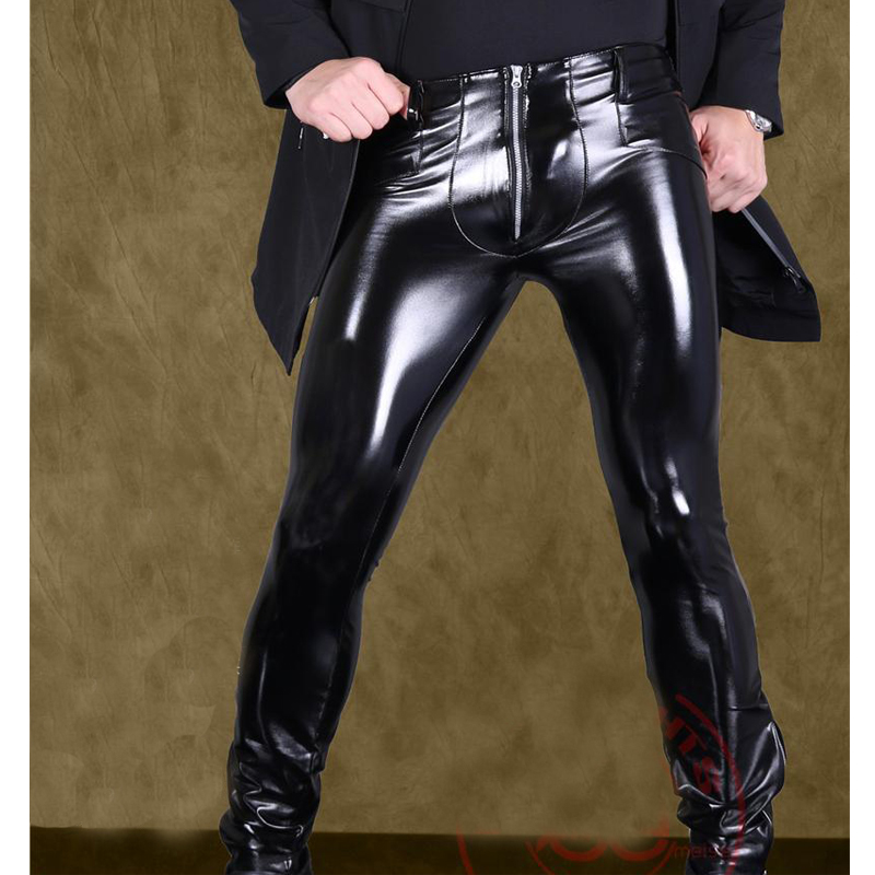 Sexy Cool Men Faux Leather Thicken Keep Warm Soft Punk Pencil Pants High Elastic Imitation Latex Men's Trousers Bootcut Legging