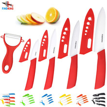 "FINDKING Brand top quality kitchen knife ceramic knife 3"" 4"" 5"" 6"" inch + peeler + Transparent Acrylic Stand kitchen set"
