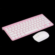 2.4G Pink Keyboard Mouse Combos Wireless Keyboard + Mute Mouse Mice Combo Kit Set For PC Computer Gaming Wholesale