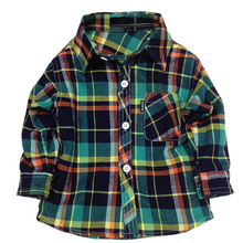 Flannel children dress shirt for boys child shirts toddler baby boy plaid shirt for boys girls dress outfit up to 1 2 3 4 year(China)
