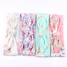 New 1 pc Cute Kids Turban Rabbit Ears Headband Flower Hairband BowKnot Head Wrap Hair Band Accessories