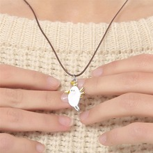gold silver color bird animal pet Cute White Bird Pendant Necklace Charms Rope Chain Necklace Gift Jewelry 3584(China)