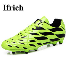Ifrich New Football Training Shoes Men Kids Leather Soccer Cleats Original Boys Cleats Long Spikes Football Cleats Boots Cheap