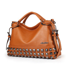 Women Tote Bag PU Leather Rivet Fashion Messenger Bags Women 2018 High Quality Designer Women's Shopping Shoulder Bag 168-27(China)