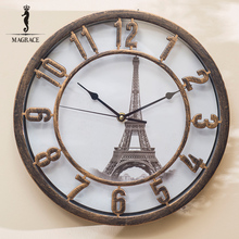 Vintage 3D Eiffel Tower Wall Clock Wrought Iron Wall Clock Hand-painted Cityscape Clocks Relogio de Parede Reloj de Pared Klok