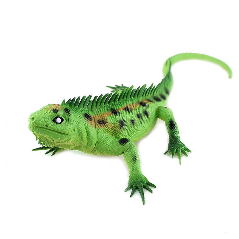 Vivid Soft Rubber Lizard Figure Zoo Reptile Toy Collection Prop Green