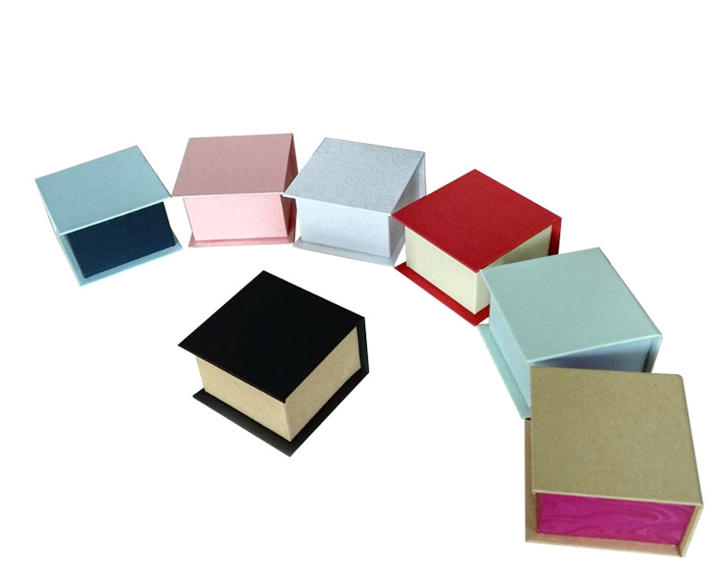 Ring Box with Magnetic Wedding Ring Gift Box OEM LOGO Jewelry Packaging for Earring 50*50*37mm Free shipping 80pcs/lot