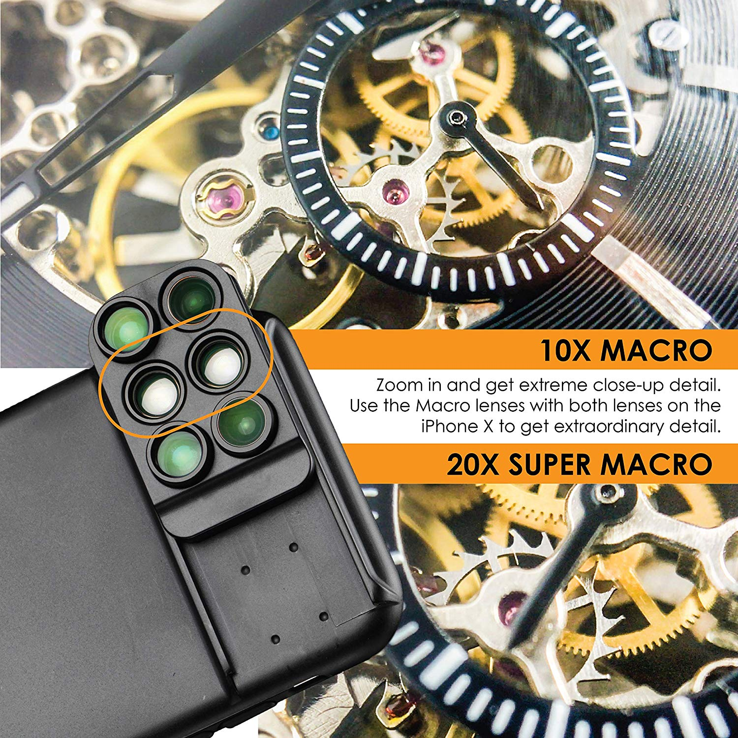 New For iPhone XS Max Dual Camera Lens 6 in 1 Fisheye Wide Angle Macro Lens For iPhone XS XR Xs Max Telescope Zoom Lenses 8