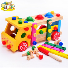 Wooden assembled screw car multifunctional knock playing combination child assembling and disassembling intelligent model toy