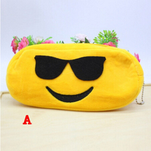Cute Kawaii Face Cartoon Pencil Case Plush Stationery QQ Expression Pencil Bag Emoji Happy Large Pen Pencilcase School Supplies(China)