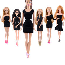 Fashion Lady Black Handmade Cool Dresses Outfit for Barbie Doll DIY Clothes Accessories Best Gift For Child Girls Kids Toys
