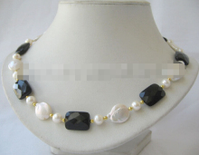 white freshwater pearl & black onyx necklace 18inch