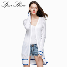 SPARSHINE 2017 Knitted Cardigan for Women Long 2017 Summer Poncho White Casual Soft Women's Sweater Cardigans feminino Outwear