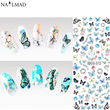 1 sheet NailMAD Colored Butterfly Nail Water Decals Blue Butterfly Transfer Sticker Nail Art Stickers Decal Tattoo DS072(China)