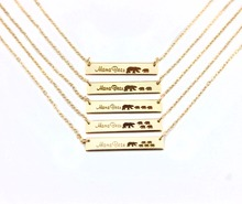 Engrave Bar Mama Bear Cubs Pendant Necklaces Mother's Day Gift Baby Shower(China)
