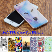 Cute Girls Flowers Silicon Mobile Phone Cases For iPhone 5S 4S 4 6 6S 7 Plus Case Pattern TPU Cover Tiger Animals Fruits Capa