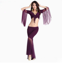 HOT SALE! mesh speaker sleeves belly dance set women 2pcs top and Five point trousers belly dance suit 12colors M and L(China)