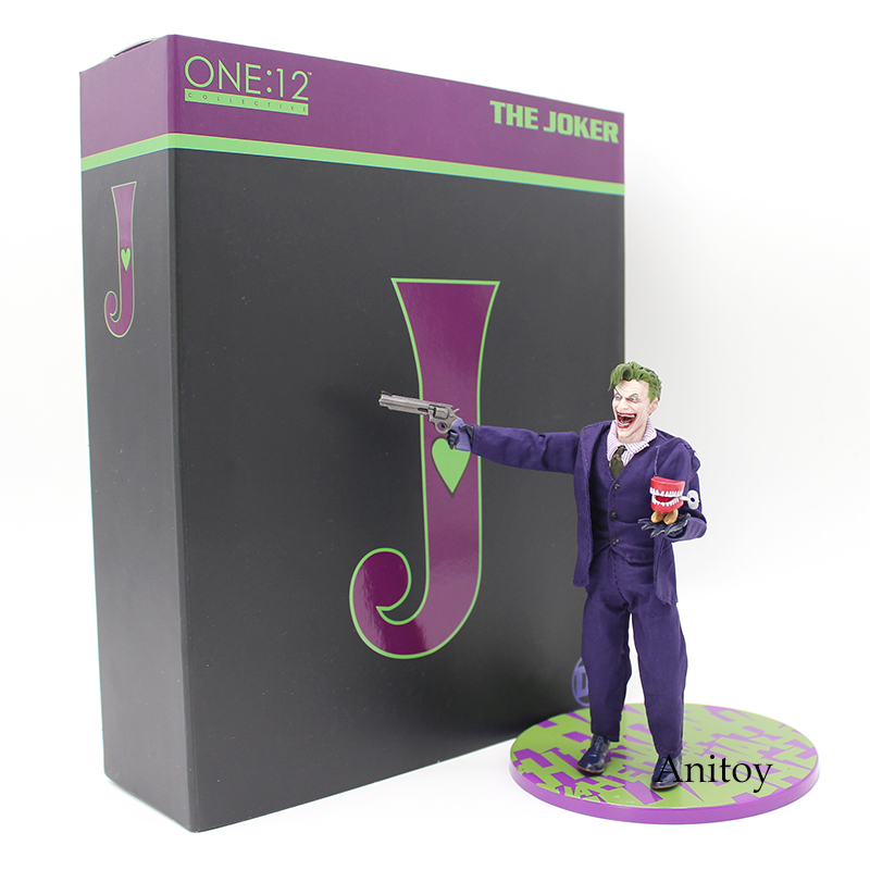 MEZCO Batman The Joker 1/12 Scale PVC Action Figure Collectible Model Toy (Real Clothing) 16cm<br>