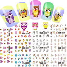 2017 NEW 11 Design in 1 Cartoon Owl Design Water Transfer Nail Sticker Decal Nails Foil Wrap Nail Art Decoration BEBLE2226-2236(China)