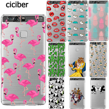 Phone Case Basketball Mickey Mouse Panda Flamingo for Huawei P9 P8 Lite 2017 P10 Plus Y5 ii Mate 9 Shell Silicone Transparent(China)