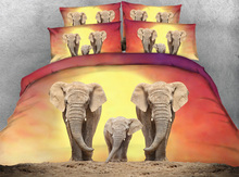 JF-111 Digital Print HD 4pcs duvet cover set Twin Full Queen Super King size elephant bedding for adults couvre lit kids
