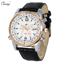 Chaxigo Superior Men's Sport Complete Calendar Mens Leather Wrist Watch Discount Cheap Analog Watch Quartz Russia/Brazil