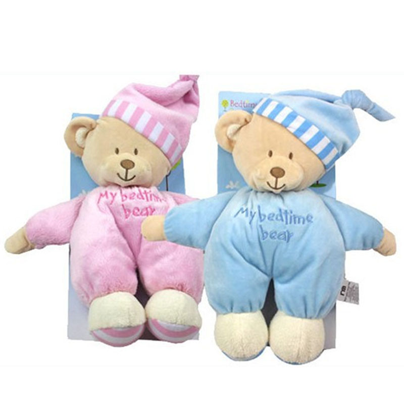 2017 NEW Sleeping Bear with Tags and CE 32CM Length Cute Baby Soft Toys Blue Pink Plush for Kids Stuffed Valentine Dolls HT3076(China (Mainland))