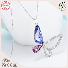 Top Quality Popular And Beautiful  Purple Butterfly Swarovski Stone Gift 925 Sterling Silver Pendant Necklace  For Girlfriend