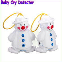 5pair/lot NEW Snowman Lovely Wireless Baby Cry Detector Monitor Watcher Alarm +Retail Box
