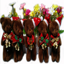 10pcs/lot Promotion Gifts 12CM Bow Tie Brown Teddy Bear Mini plush Keychain Bear Bouquet Toy Christmas Decoration 6 Colors J812