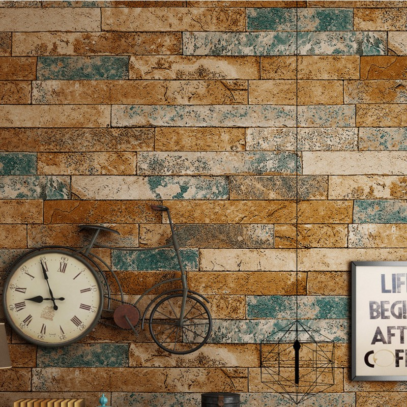 Free Shipping 3D Brick Wallpaper Antique Brick Wallpaper Chinese Nostalgic Restaurant Hotel Backdrop Retro Bars Wallpaper<br>