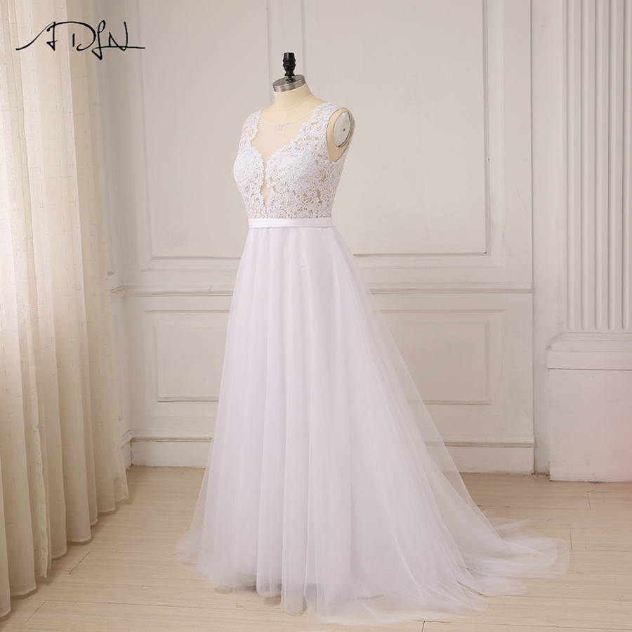 ADLN Plus Size White Wedding Dresses New Sexy Scoop Tulle Appliques Beach Boho Bride Dress Long Ivory Wedding Gowns Custom 8