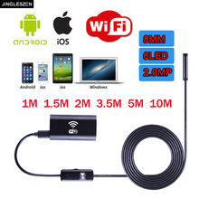 JINGLESZCN WIFI Endoscope USB Camera 8mm Borescope Inspection Endoskop 10m 2m 3.5m 5m HD Snake Camera Endoscopic Android Windows(China)