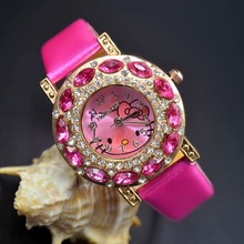 Cute Children students Girl Hello kitty KT cat style Leather strap Big crystal Quartz Wrist Watch