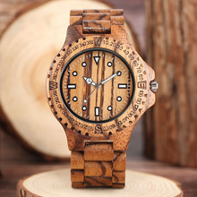 Mens Watches Top Brand Luxury Natural Full Wooden Gear Face Zebra Bamboo Quartz Wristwatch Man Direction Sports Clock 2017(China)