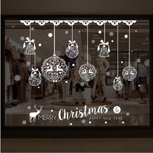 Merry Christmas Shop Window Wall Removable Stickers Christmas Bell Deer muurstickers home room pegatinas paredes decoracion#XTT(China)
