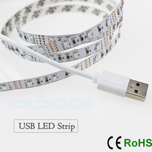 non Waterproof USB Power Supply 5V SMD3528 60 LED Flexible Strip Light TV Background/computer case Lighting DIY Decorative Lamp