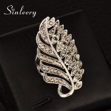 SINLEERY Vintage Leaf Shaped Micro CZ Stone Long Rings Antique Silver Color Jewelry For Women Wedding Bijoux Femme Anel JZ012