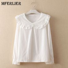 Mferlier Mori Girl Autumn White Shirt Ruffled Peter Pan Collar Long Sleeve Wood Ear Patchwork Femme Cotton Blouse(China)