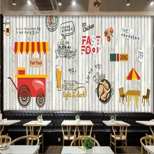 photo wallpaper Europe fashion wood mural Korean food fried chicken shop fast food restaurant background wallpaper(China)