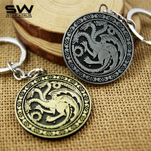 STARWORLD Movie Series Key Chain Game of Thrones Family Badge Round Relief Keyring Keychain Jewelry Fashion Key Chain Holder(China)