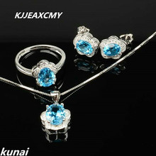 KJJEAXCMY Fine jewelry,925 silver inlay natural blue topaz set a minimalist boutique on behalf of silver