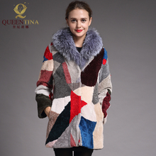New Winter Genuine Fur Sheepskin Coat for Women Warm Wool Coat Real Fox Fur Collar Female Real Fur Outwear Sheep Shearing Jacket(China)