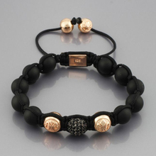 Shamballa Jewelry Fashion Shamballa Bracelets Handmade Black & Rose Gold Beads Charm Bracelets Adjustable NY-B-096